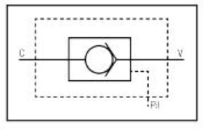 Clapet simple pilote en ligne SCHEMA