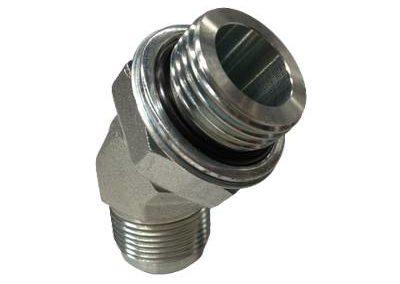 Adaptateur coude 45° mâle JIC x mâle gaz