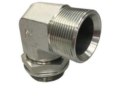 Adaptateur coude 90° mâle BSP x mâle gaz CYL orientable + or